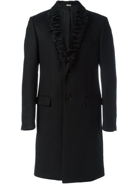 Fendi Lamb Fur Lapel Coat - Black
