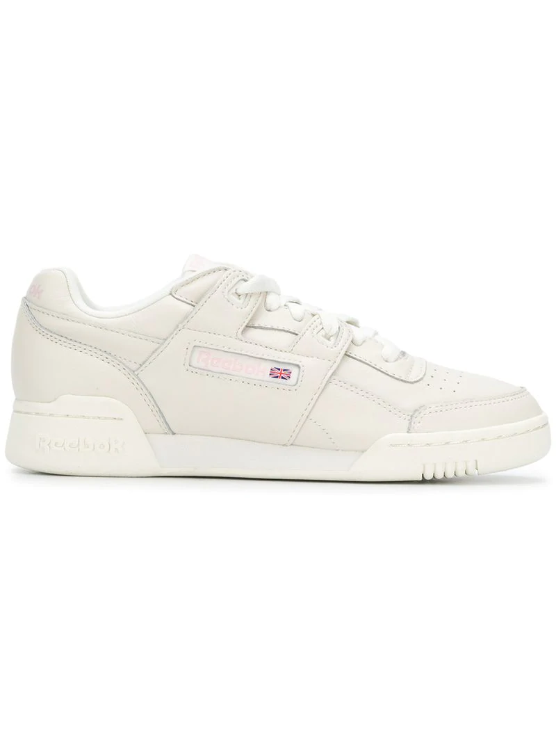 50b2a98099b Reebok Workout Lo Plus Beige Leather Sneakers In White