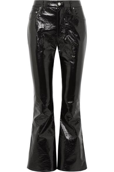 Beaufille Veritas Cropped Vinyl Flared Pants In Black