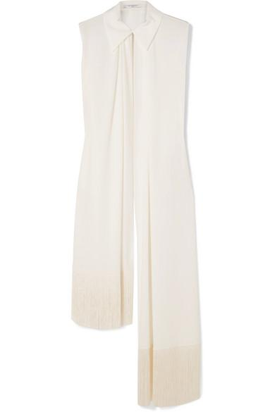 Givenchy Asymmetric Fringed Silk Blouse In Ivory
