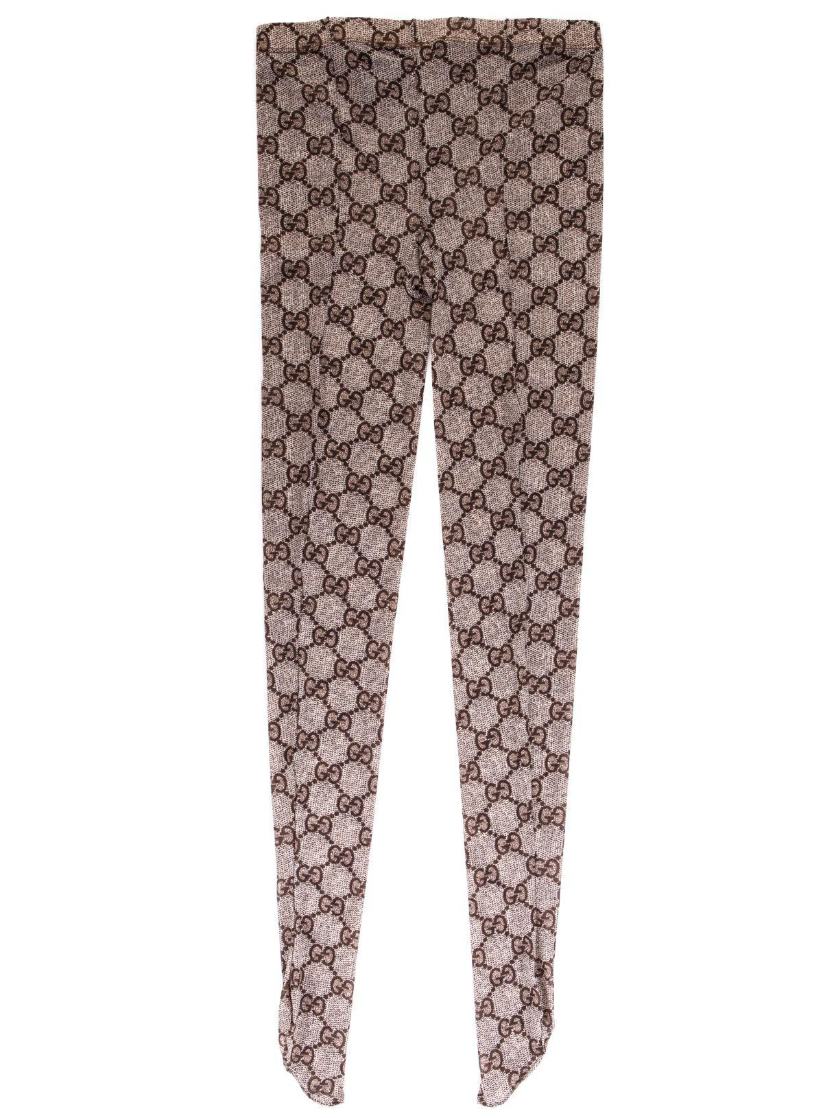 5100ca32d39 Gucci Gg Pattern Tights In Beige Dark Brown