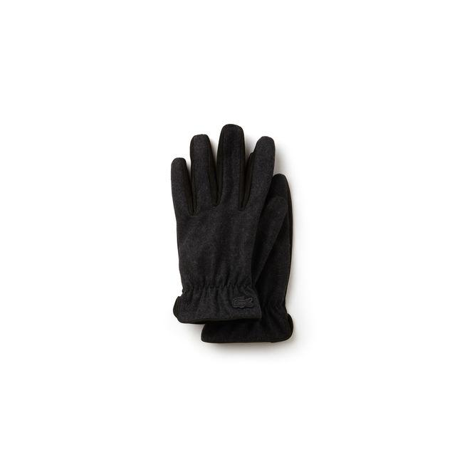 9d67eee4c Lacoste Men s Bicolor Leather And Wool Gloves In Black   Grey