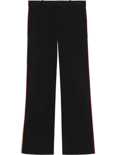 Gucci Side Stripe Stretch Cady Crop Flare Pants In Black