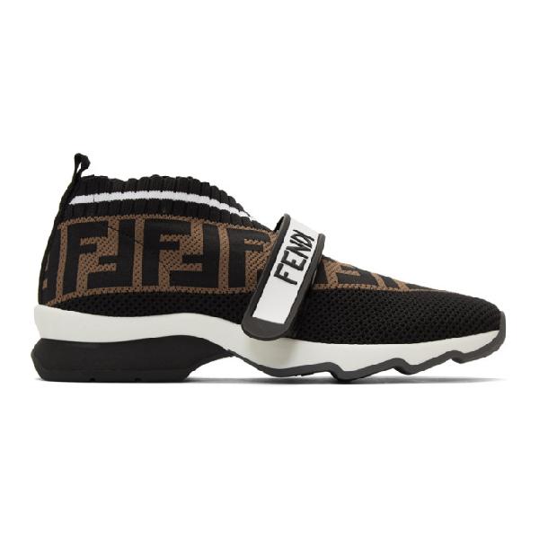 Fendi White, Brown And Black Rockoko Runner Sneakers - 黑色 In Black