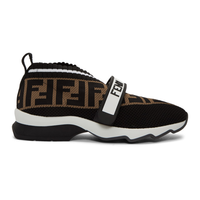 Fendi White, Brown And Black Rockoko Runner Sneakers In F14zv Black