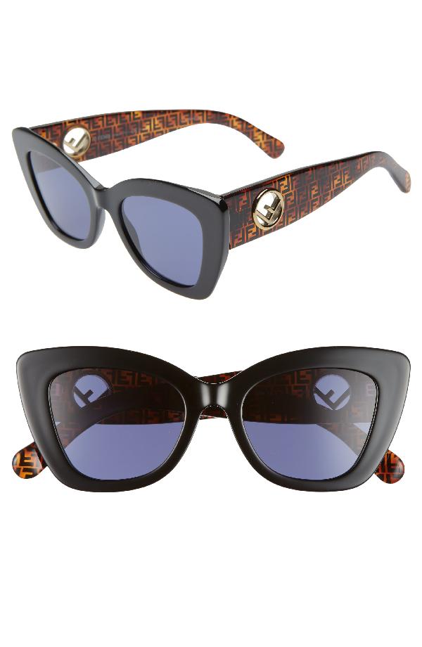 1e34267284 Fendi Square Acetate Sunglasses W  Ff Arms In Black