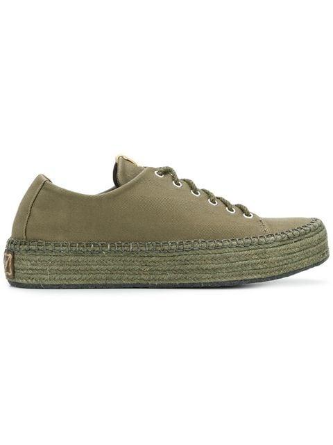 Visvim Prima Lace-Up Folk Sneakers In Green