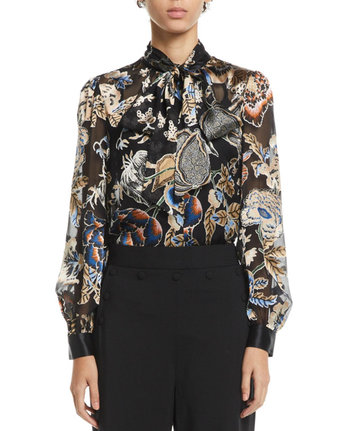 a7a8f89f53ed Tory Burch Floral Satin Burnout Tie-Neck Blouse In Midnight Happy Times