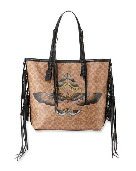 eb87f73f2283 Coach Tattoo 34 Signature Canvas Tote Bag In Tan/Black   ModeSens