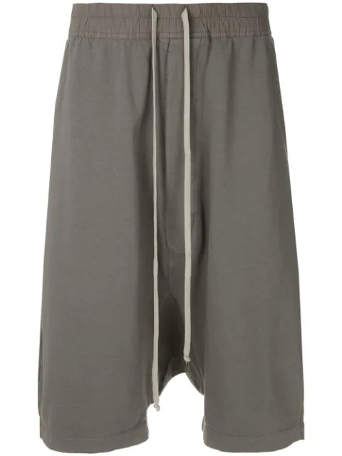 Rick Owens Drkshdw Grey Drop-Crotch Cropped Cotton Shorts - 06 Grey