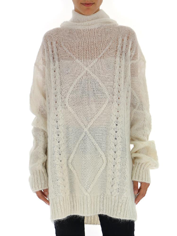 Maison Margiela Sheer Cable Knit Sweater In White
