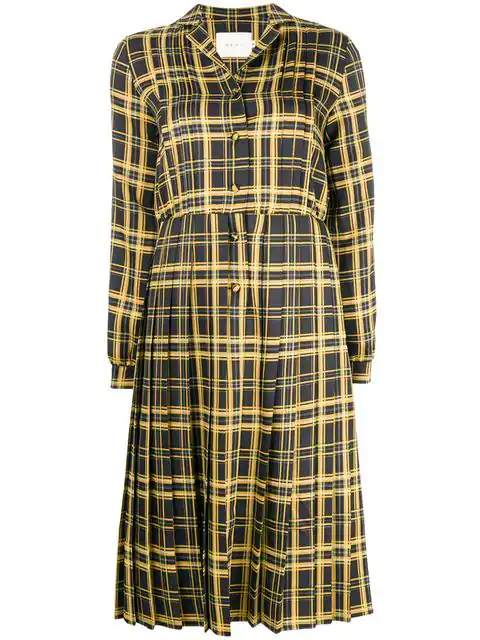 Neul Checked Pleated Dress In Yellow