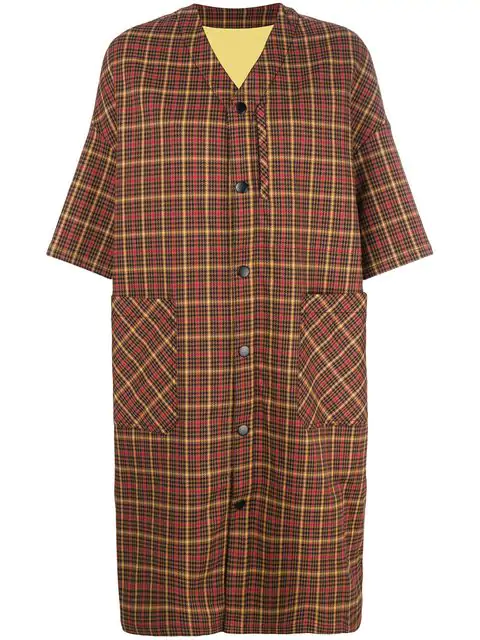 Neul Checked Short Sleeved Coat In Brown