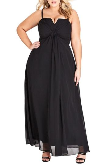 City Chic Trendy Plus Size Strapless Maxi Dress In Black | ModeSens