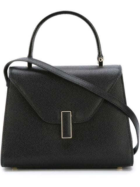 Valextra Iside Mini Grained-Leather Bag In Nero