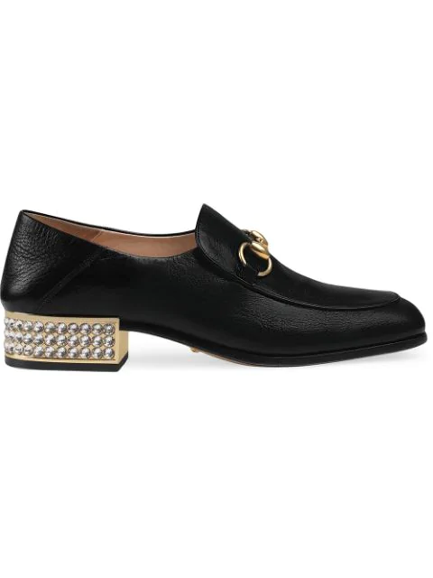 Gucci Horsebit Crystal Leather Loafers In Black