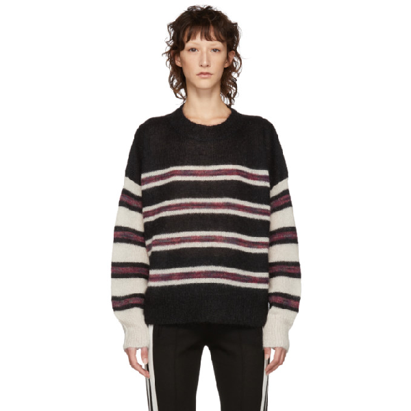 d4a90ca5c0 Etoile Isabel Marant Isabel Marant Etoile Black And White Mohair Russel  Sweater In Bkec Blk/