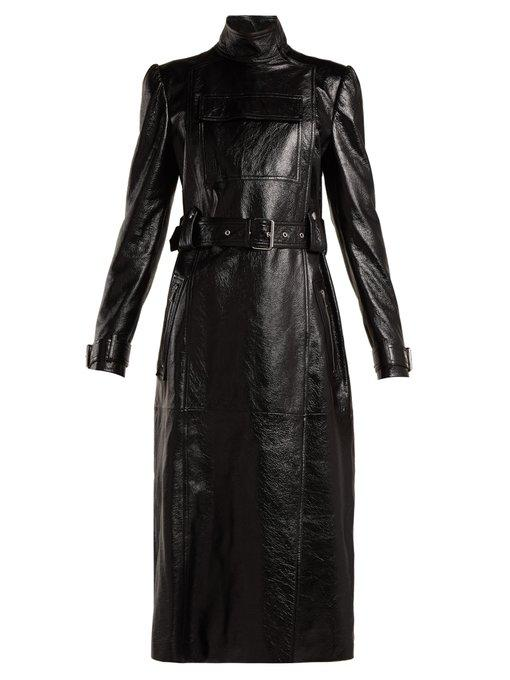 Valentino Dragon-Embroidered Double-Breasted Leather Coat In Black Print
