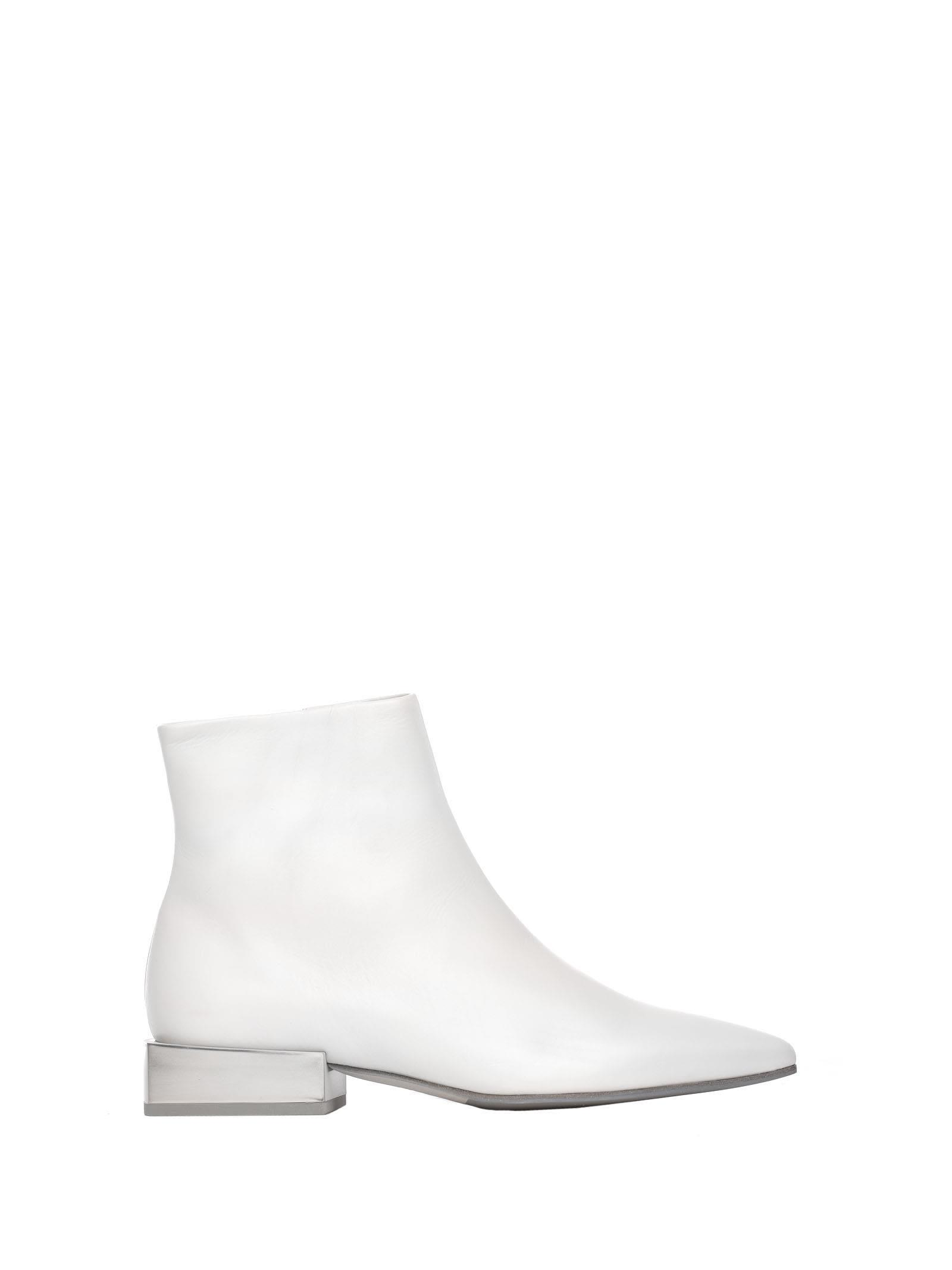 Leather Heeled Ankle Boots With Metallic Block Heel in Bianco