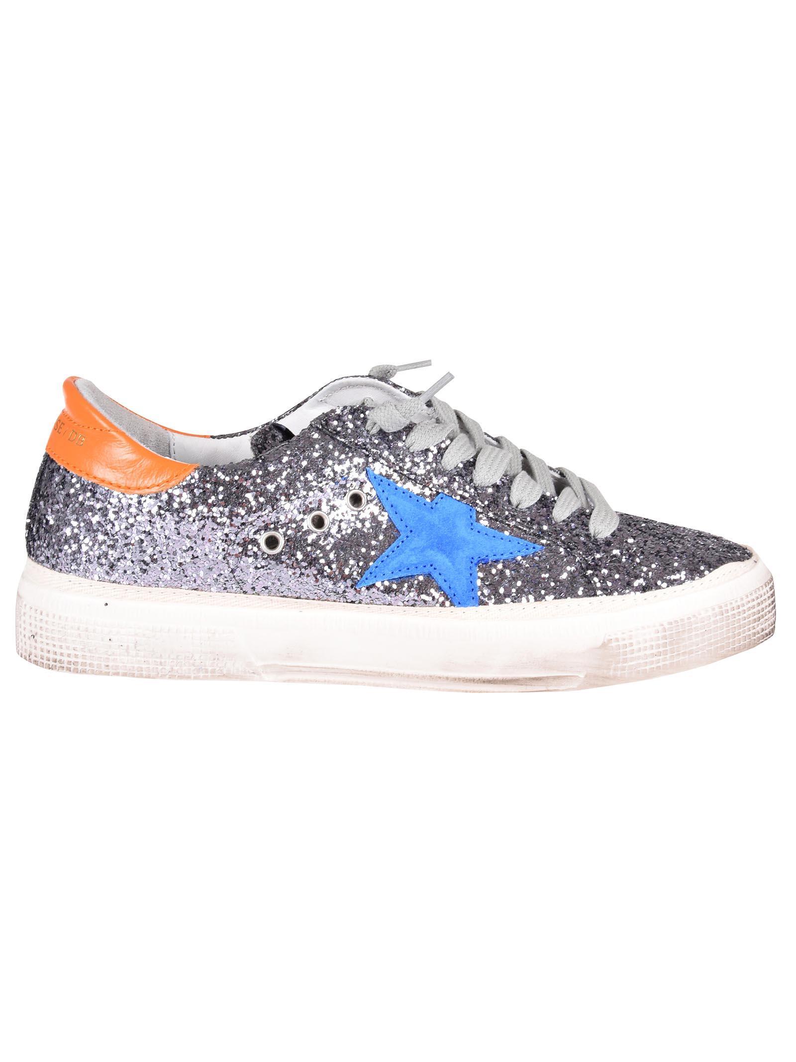 457fad9b444b Golden Goose May Sneakers In Grey Glitter Blue Star