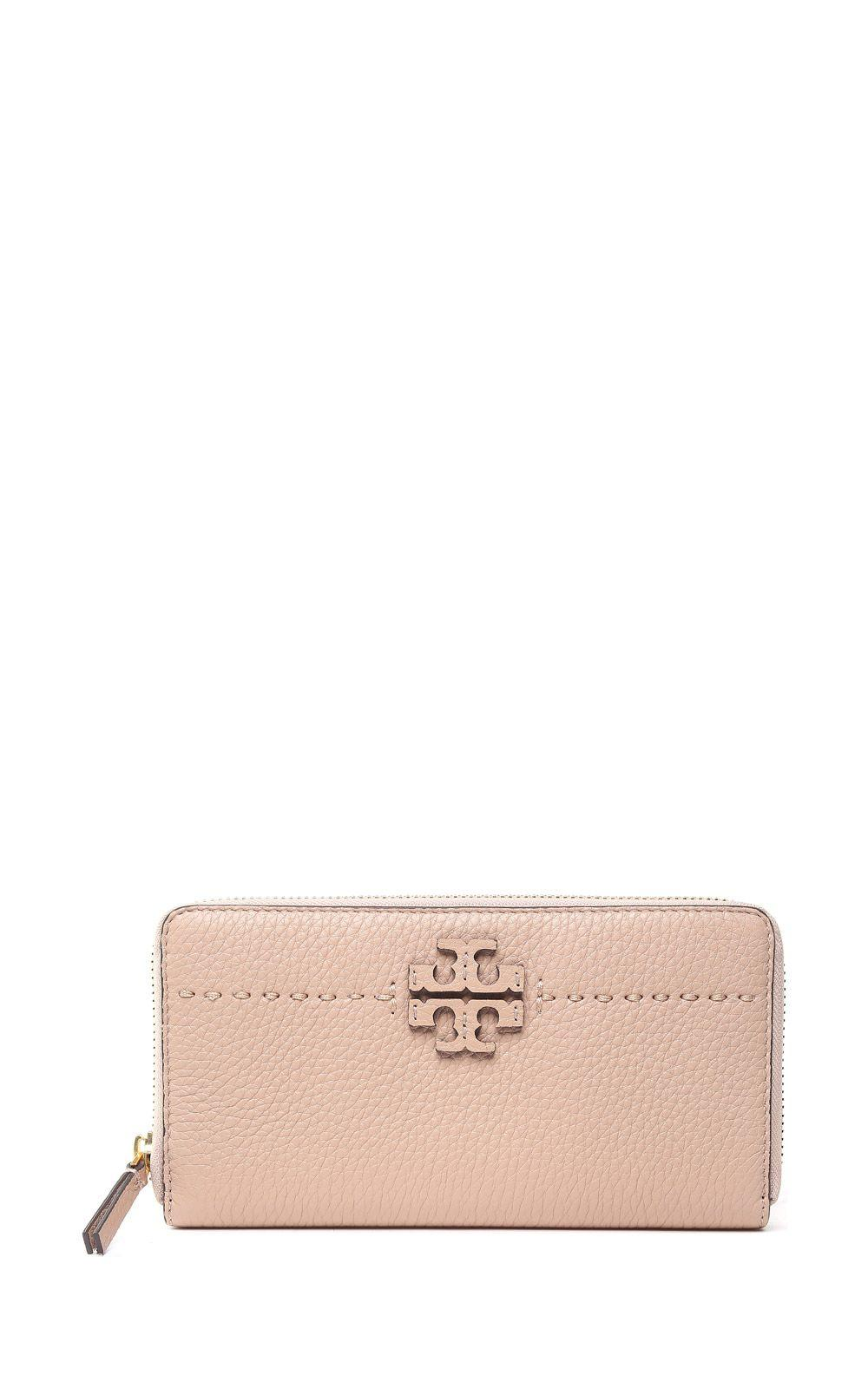 f9cef3748e Tory Burch Mcgraw Pebbled-Leather Continental Wallet In Rosa   ModeSens
