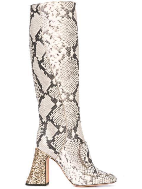 Rochas Pascal Glitter-heel Leather Boots In Grey