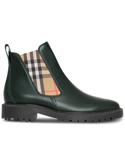 Burberry Vintage Check Detail Leather Chelsea Boots In Green