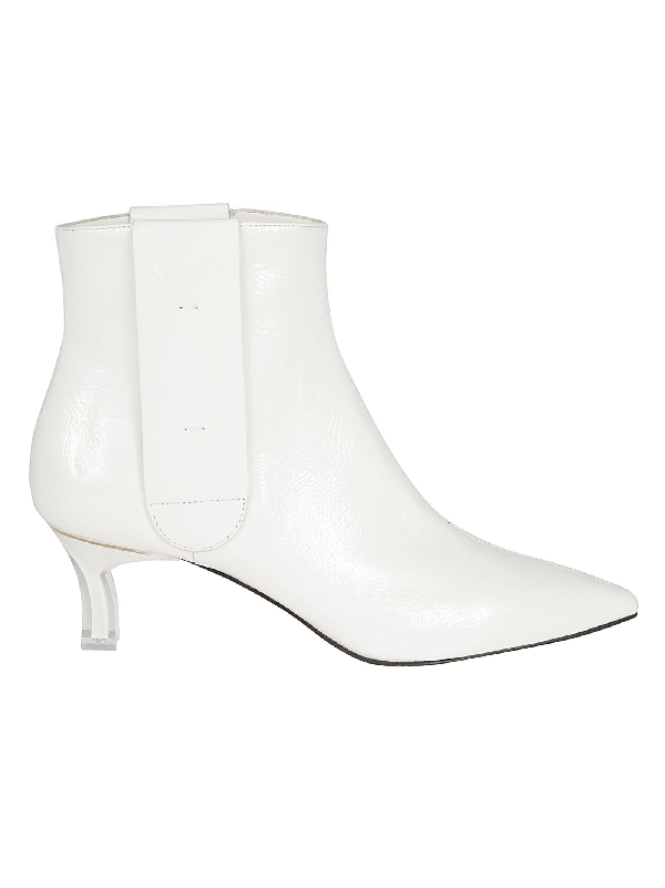 Casadei Plexi Blade Heel Ankle Boots In White