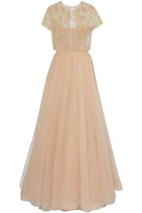 Valentino Woman Bead-Embellished Pleated Tulle Gown Blush