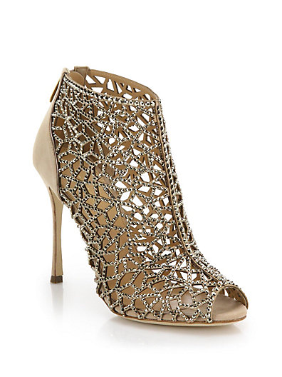 Sergio Rossi Woman Royal Strass Crystal-Embellished Laser-Cut And Smooth Suede Ankle Boots Antique Rose In Nude