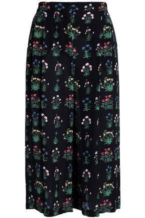 Valentino Woman Floral-Print Silk-Crepe Culottes Black