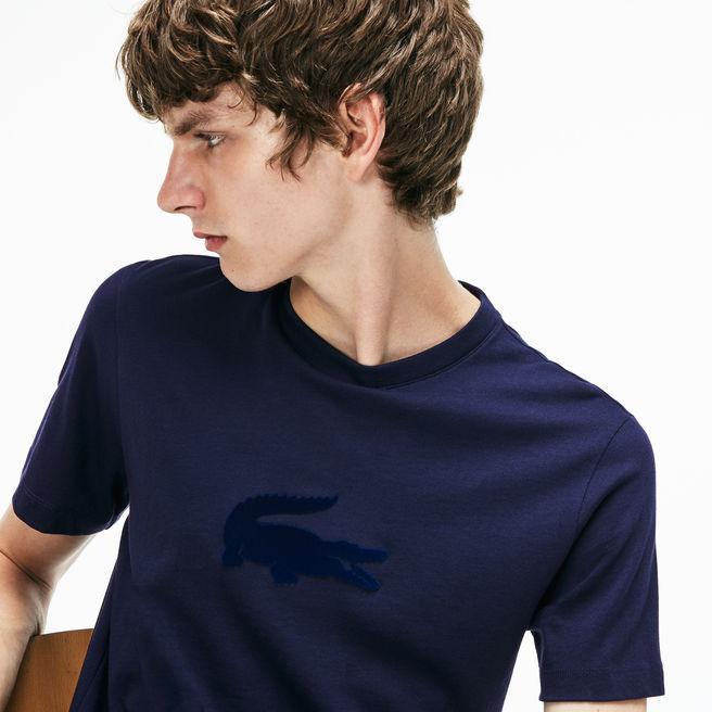 33f0c654 Lacoste Men's Crew Neck Oversized Crocodile Jersey T-Shirt In Navy Blue
