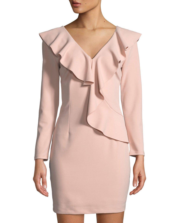 cc0719ae6ab0 Alexia Admor Ruffle-Trimmed Long-Sleeve V-Neck Dress In Blush | ModeSens