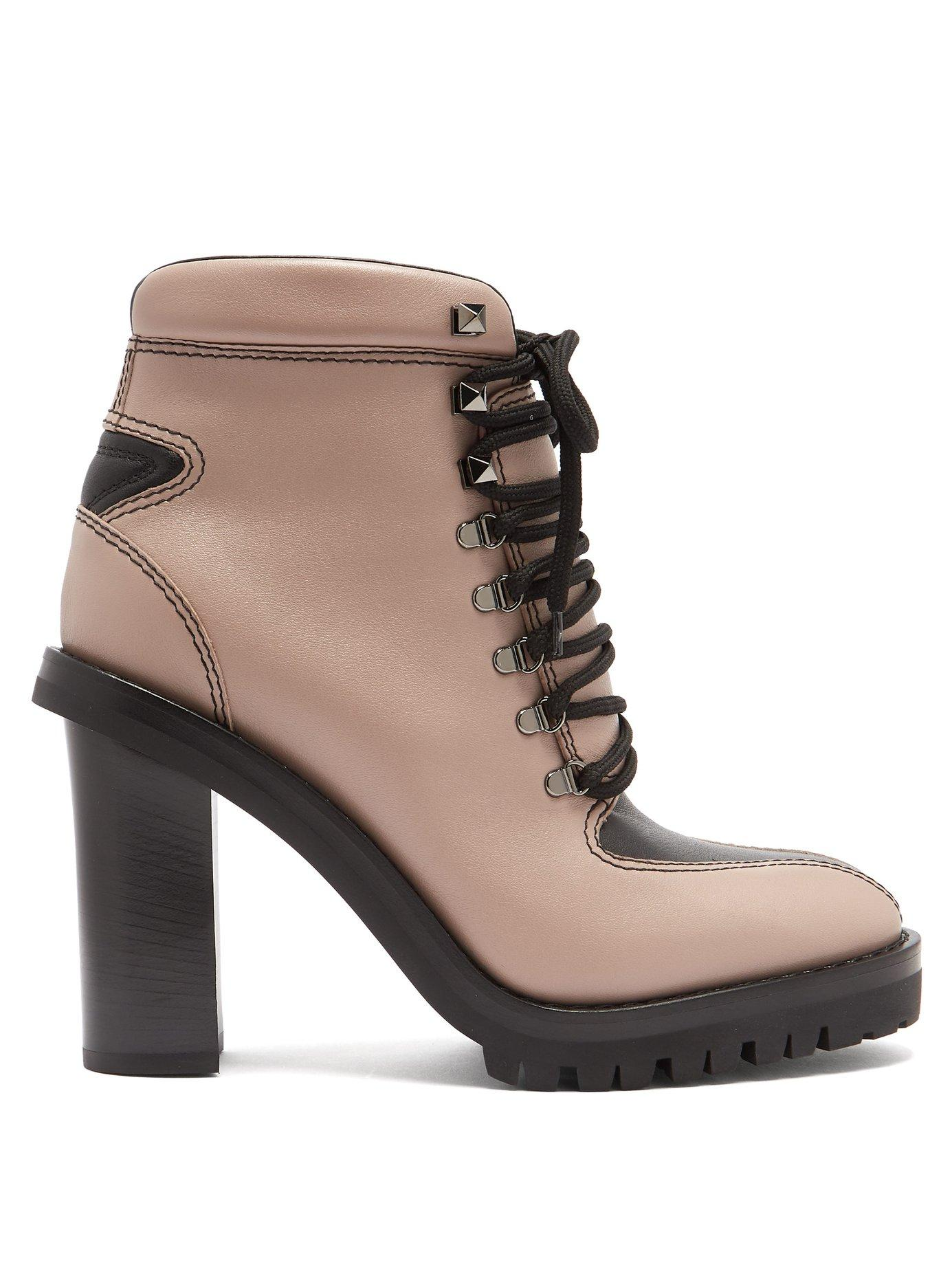 Valentino Trekking Lace-Up Leather Boots In Pink Beige