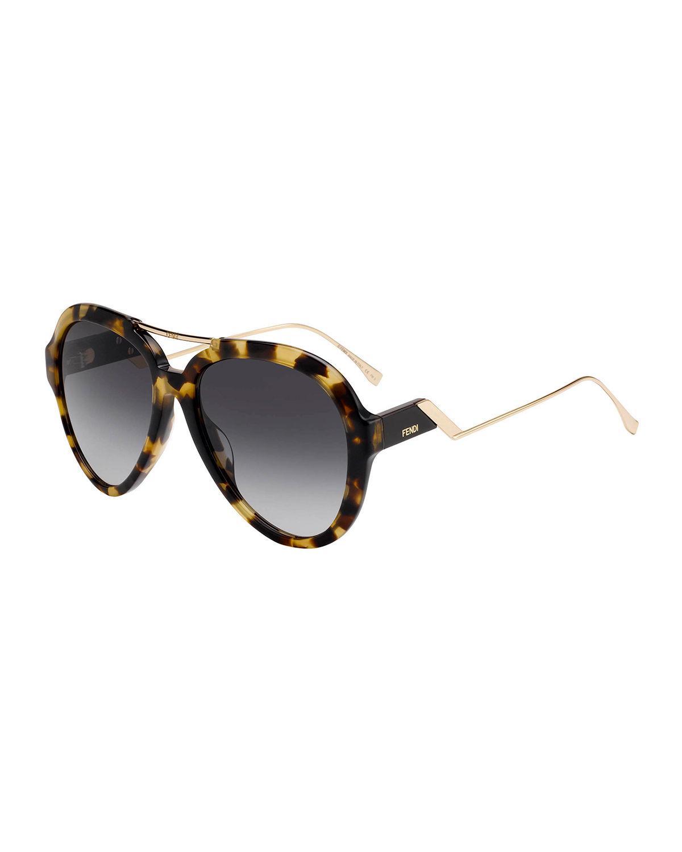a2fc2acba04 Fendi 58Mm Aviator Sunglasses - Dark Havana