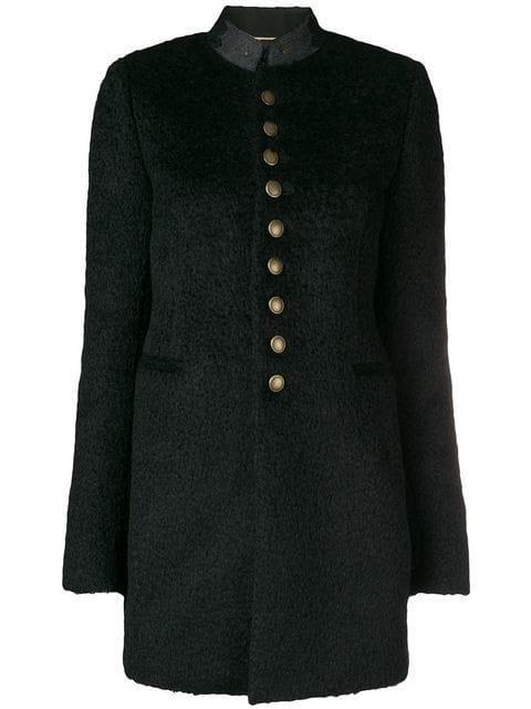 Saint Laurent Buttoned Military Coat In Black