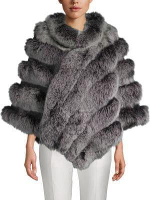 a4fce18381a Belle Fare Dyed Fox Fur Asymmetric Poncho In Black Snow