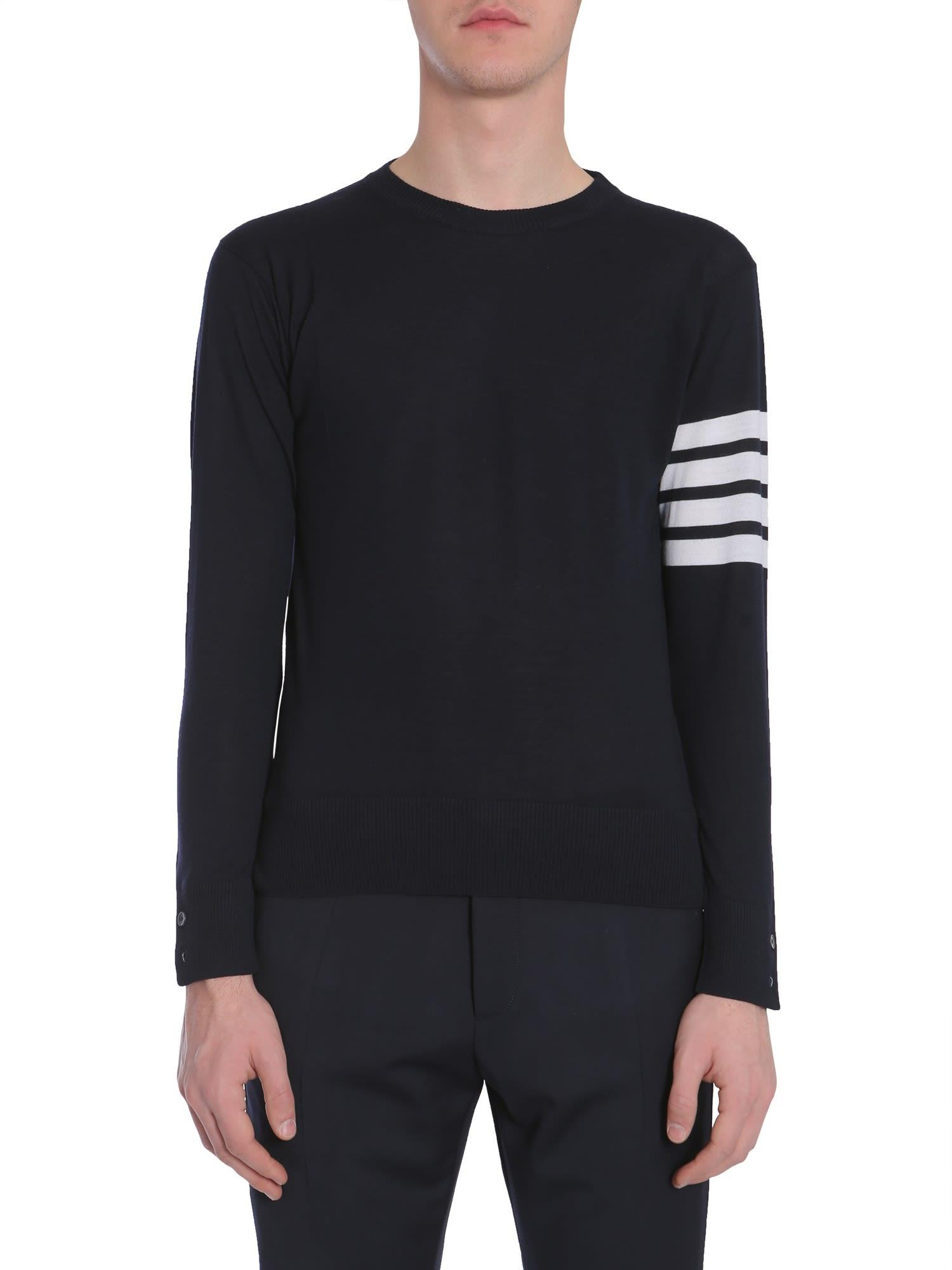 Thom Browne Round Collar Sweater In Blue