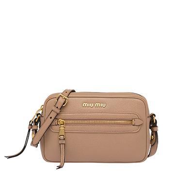 Miu Miu Leather Shoulder Bag In Cameo Beige  e89c3d2fc0546