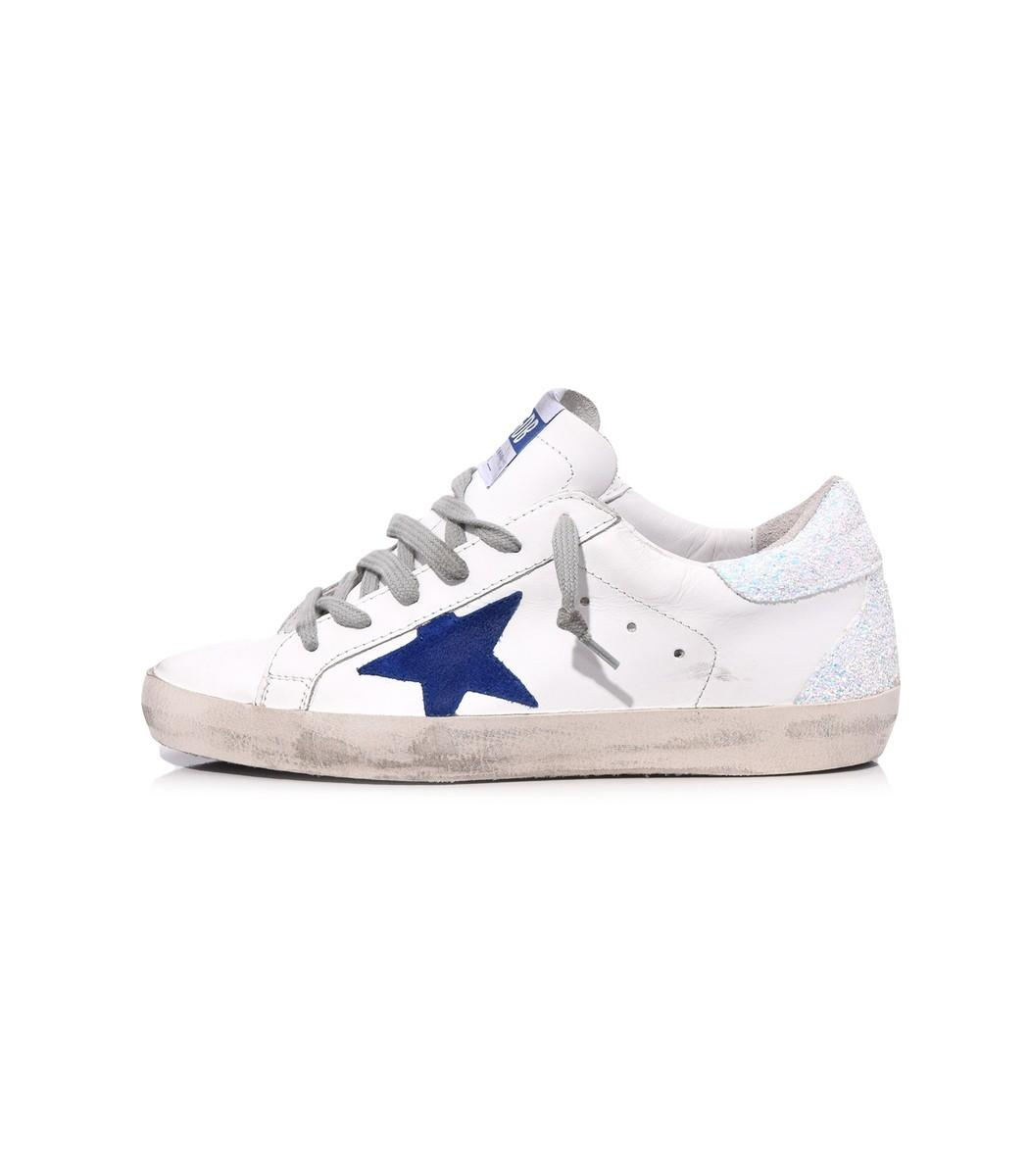 128771614927 Golden Goose Superstar Sneaker In White Iridescent Blue Star