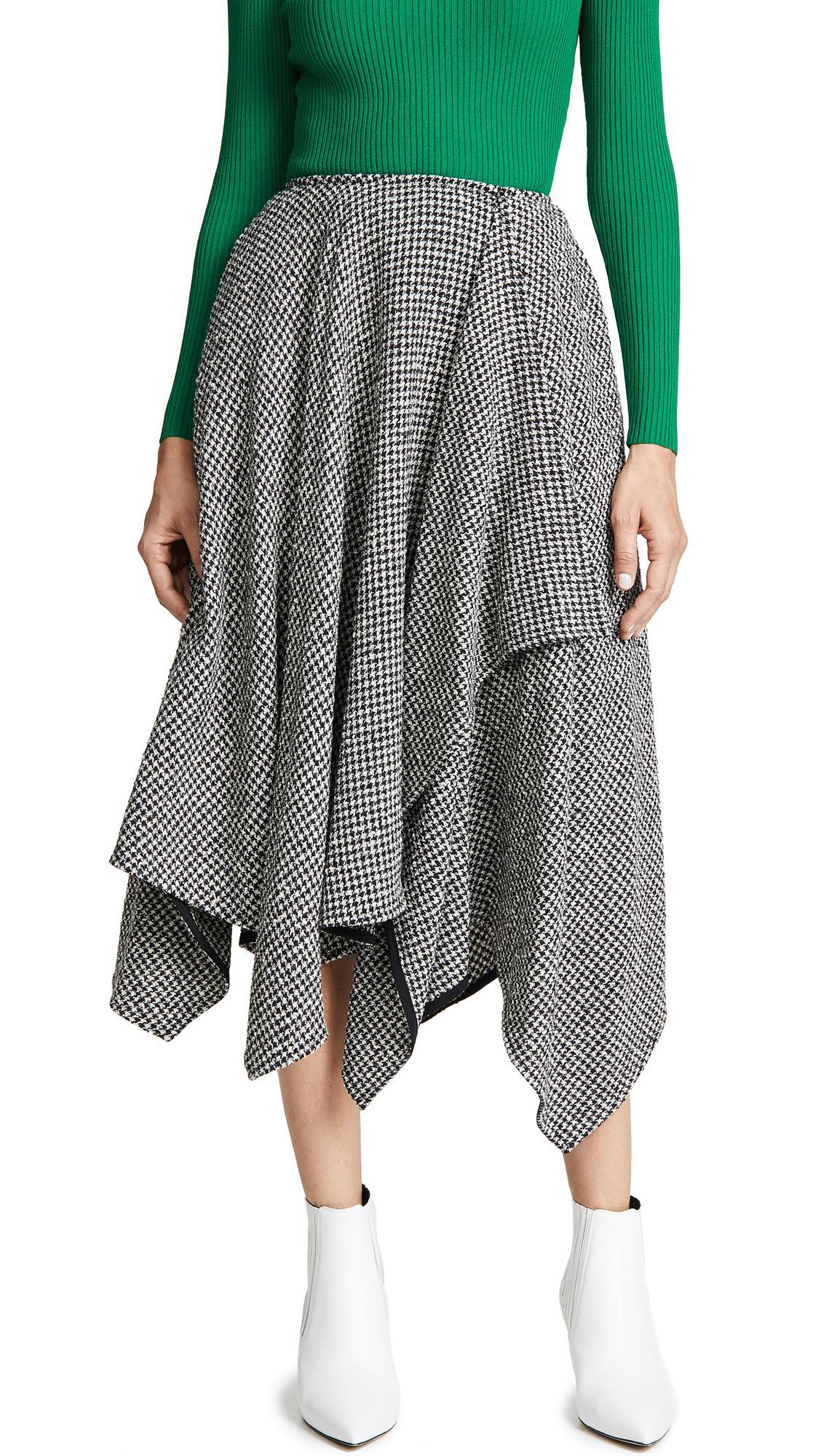 452f23053 Adeam Handkerchief Skirt In Black/White Check | ModeSens