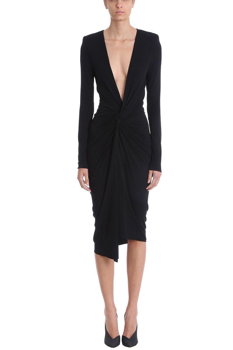 Alexandre Vauthier Black Jersey Knot Maxi Dress