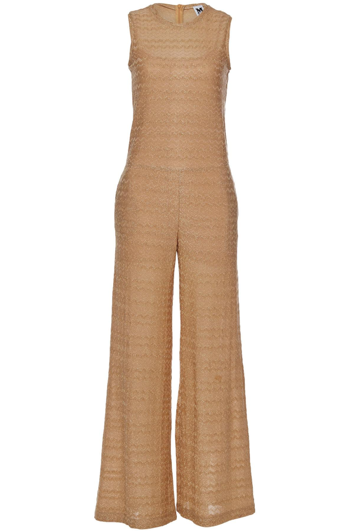 b2da2392e51d M Missoni Knit Jumpsuit With Cotton And Metallic Thread In Gold ...
