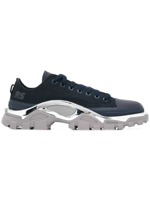 Raf Simons Adidas Originals Detroit Runner Rubber-trimmed Canvas Sneakers In 04380 Nvy/g