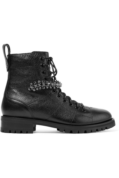 Jimmy Choo Cruz Flat Black Grainy Leather Combat Boots With Crystal Detailing