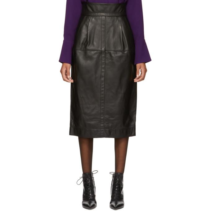 Marc Jacobs Black High-Waisted Leather Skirt In 001 Black