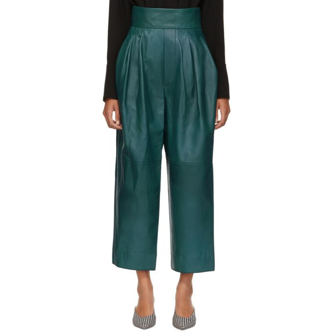 Marc Jacobs Green High-Waisted Leather Pants In 345 Teal