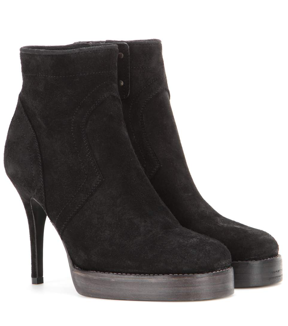 Rick Owens Classic Stiletto Suede Boots In Black