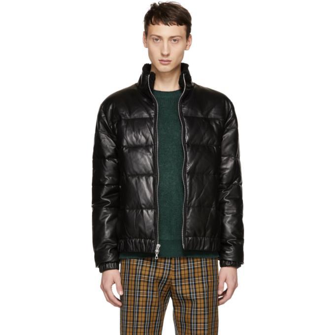 97d524328 John Elliott Black Leather Down Bomber Jacket