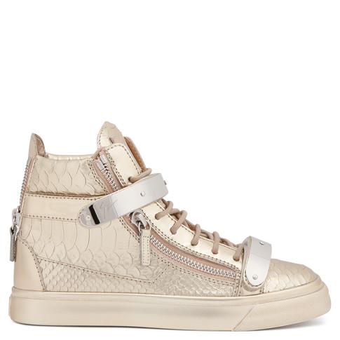 Giuseppe Zanotti Gold Snake-Embossed London High-Top Sneakers